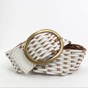 Leather woven belt made in India brass hardware